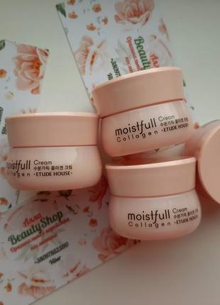 Подтягивающий крем с коллагеном etude house moistfull collagen cream миниатюра 10мл