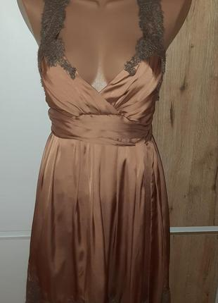 Вечернее атласное платье с кружевом, р.44-46