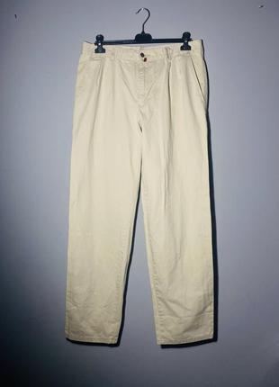 Джинсы брюки чинос бежевые светлый из плотного котона