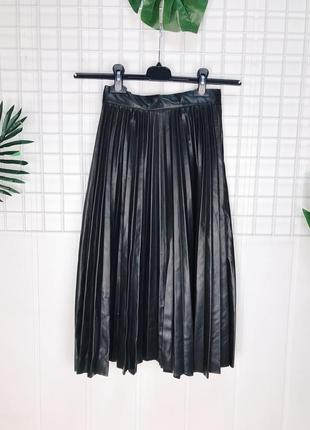 Женская юбка плиссе кожзам
