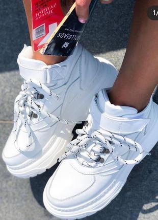 Зимние белые ботинки кроссовки