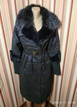 Красивая женская длинная куртка с натуральным мехом 😍