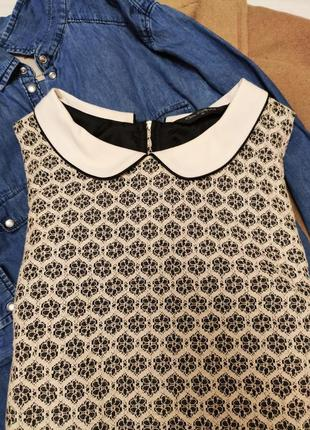 Miss selfridge платье ажурное чёрное бежевое с белым воротником прямое2 фото