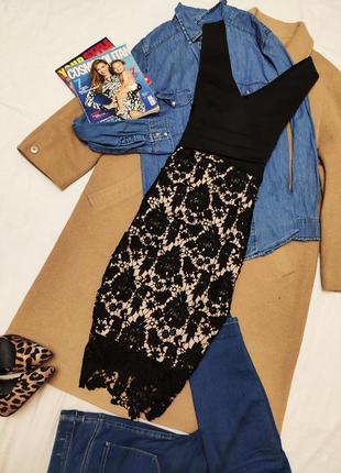 Платье вечернее чёрное бежевое с кружевом коктельное классическое миди футляр lipsy