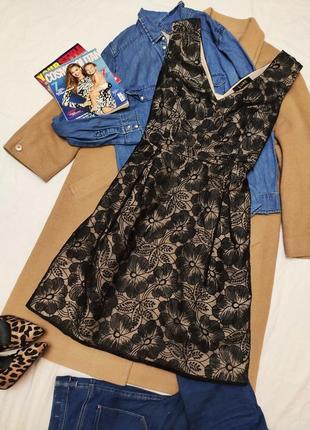 Дороти перкинс платье вечернее миди бежевое с чёрным цветочным принтом
