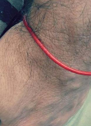 Мужской браслет кожаный красный шнур минимализм
