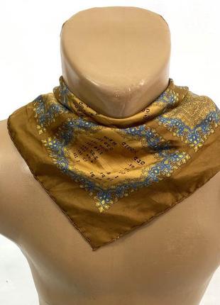 Платок стильный шелковый, обшит вручную