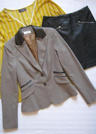 Стильный пиджак в клетку гусиная лапка с кожаными вставками