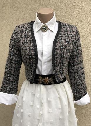 Укорочённый,твидовый жакет,пиджак,блейзер,фрак,стиль шанель
