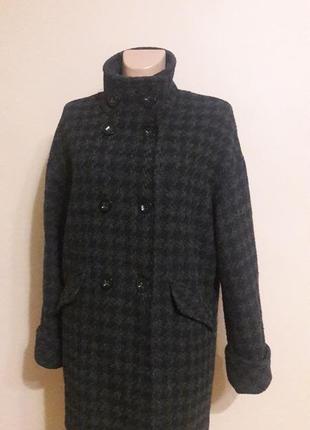 Суперовое пальто оверсайз, кокон, шерсть 41%) пог 60
