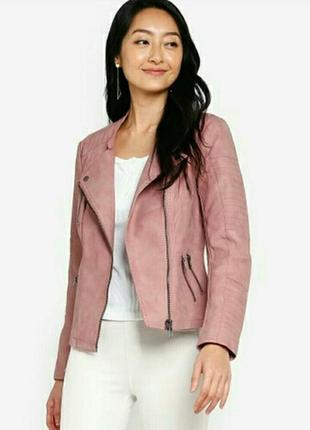 Куртка косуха кожанка розовая пудровая only