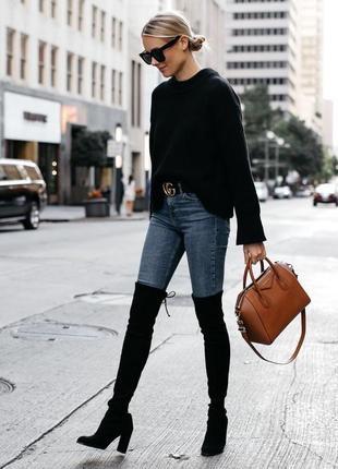 Женские высокие сапоги ботфорты сапожки на каблуке ботфорти