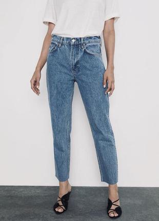 Мега классные мом новые джинсы zara mom fit высокая посадка