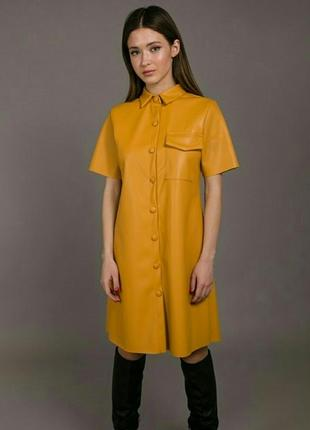 Платье кожаное на пуговицах.  платье-рубашка.  кардиган