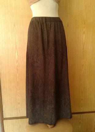 Юбка коричневая в рубчик, 3xl.