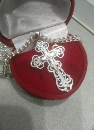 Крест крестик кулон серебро