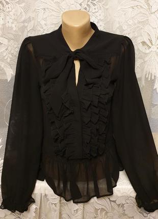 Нарядная блуза рубашка шифоновая с бантом и рюшами прозрачная