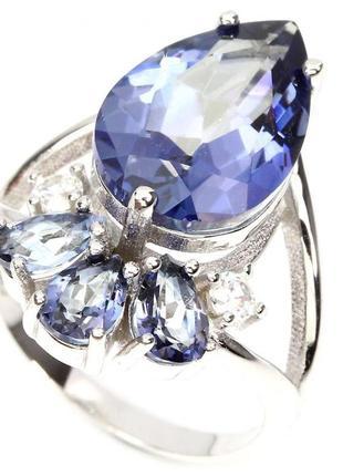 Новое кольцо с танзанитовым кварцем, серебро 925 , размер 16,тайланд
