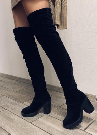 Сапожки выше колена из ткани на удобном каблуке весенние сапоги ботфорты