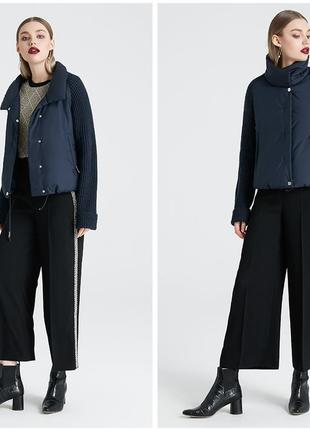 Куртка деми весна-осень комбинированная вязанные рукава, размер xl