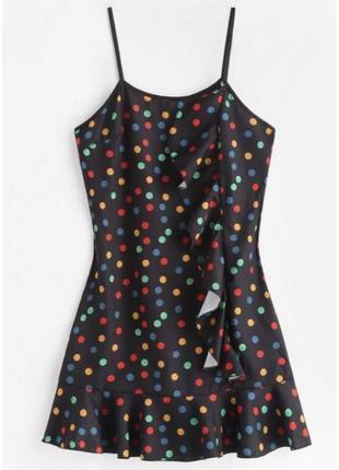 Плаття, сукня трендова, в горошек стиль 80, модна сукня, коктейльна сукня.