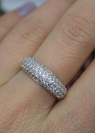 Серебряное #кольцо #каблучка #россыпь #камни #блиск #925, 17р-р