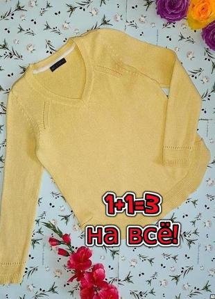 🎁1+1=3 стильный желтый плотный вязанный свитер marks&spencer, размер 46 - 48