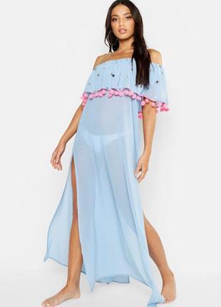 Boohoo. товар из англии. пляжное платье на одно плечо с воланами и помпонами.