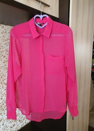 💕яркая цвета фуксии💕 шифоновая блуза размер 38 м