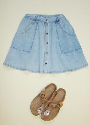 Актуальная юбка трапеция на кнопках под джинс topshop l-xl