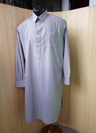 Длинная рубашка с воротником / с вышивкой