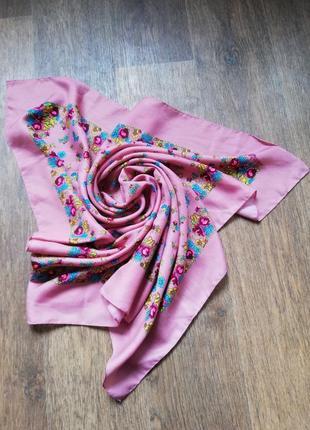 Платок цветы сиреневый розовый