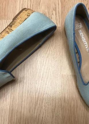 Туфли балетки мокасины джинс f&f текстиль  ст.23,5-24см