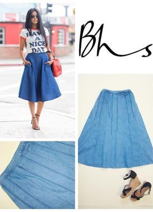 Расклешенная джинсовая миди юбка bhs l/xl