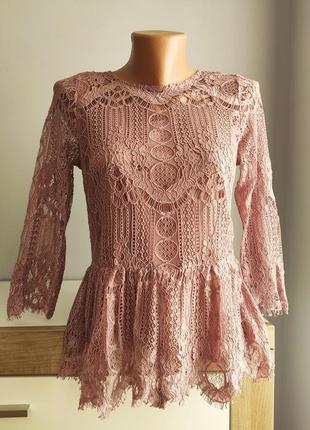 Шикарная кружевная, гипюровая блузка с красивой спинкой