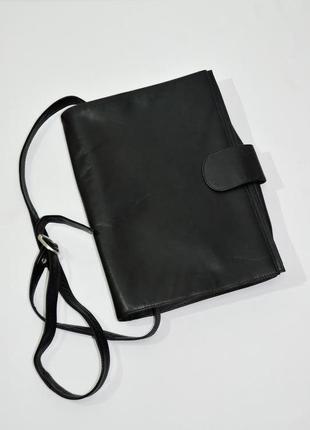 Кожаная мужская сумка-папка с длинной ручкой через плечо . код 2714
