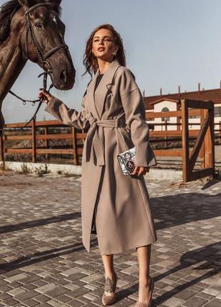 Кашемировое пальто-халат без подкладки