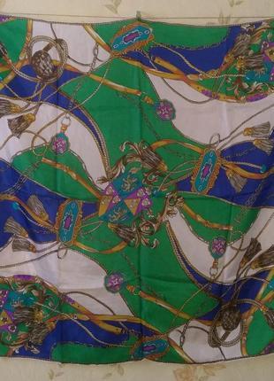 Hermes стиль платок 87*88 шёлк шов роуль