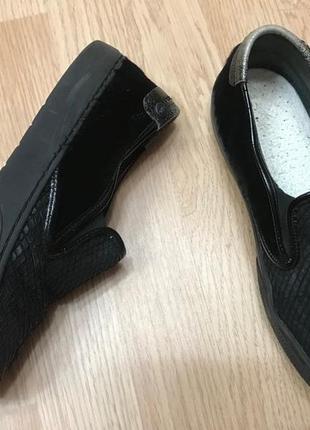 Туфли балетки мокасины слипоны via vai кожа питона мех  ст.24-24,5см