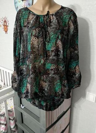 Свободная нарядная шифоновая блуза от okay, размер 20/22 можно больше, оверсайз