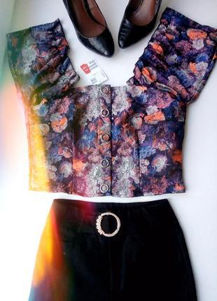 Топ-бюстье на плечи с объемными рукавами винтаж