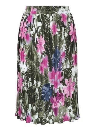 🌿 стильная юбка плиссе миди, размер м-l