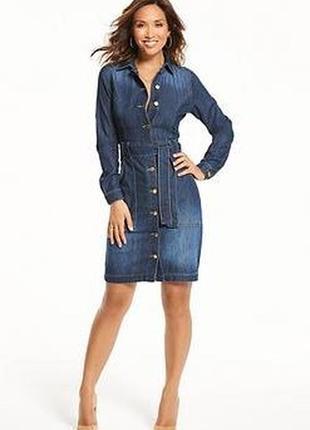 Myleene klass джинсовое платье с длинным рукавом миди под пояс с большими карманами