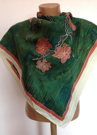 Большой шелковый платок- батик