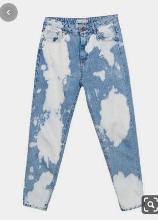 Двухцветные джинсы мом медиум длина