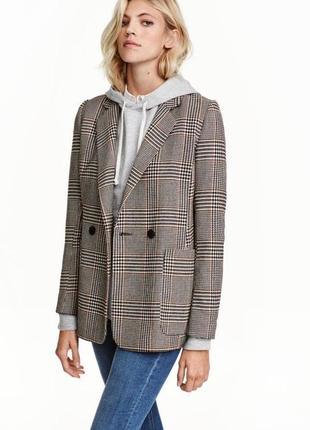 Пиджак прямого кроя в клетку от h&m