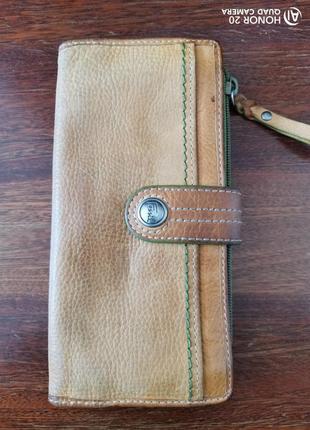 Большой кожаный, винтажный кошелёк