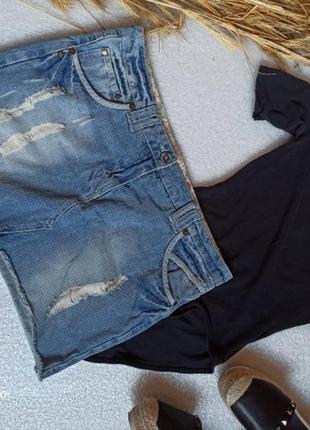 Брендова джинсова міні юбка великого розміру