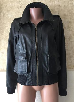 Куртка бомбер кожа с манжетами south