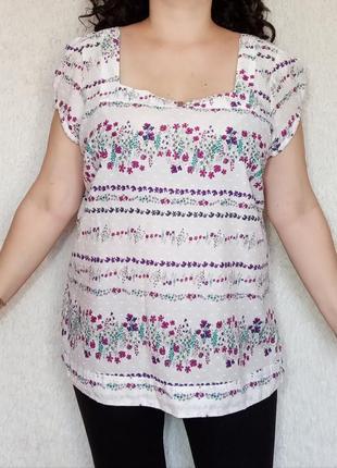 Хлопковая блуза в цветы